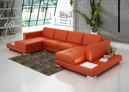 Leather Sofa Chaise Lounge by U Shaped Orange Leather Sofa With Double Chaise Lounge And End