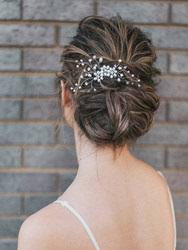 flower hair medium rhinestone and pearl bridal hair comb bridal hair