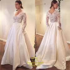 lace top wedding dress simple sleeve v neck a line lace top satin wedding
