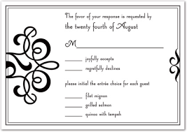 wedding response card wording classic flourish in modern black rsvp cards wedding response cards