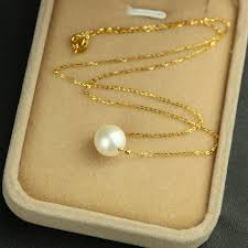 fine chain pendant necklace images 18k gold chain 11mm perfectly round high luster pearl pendant jpg