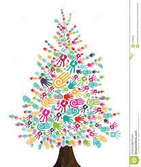 diversity christmas tree hands isolated royalty free stock images
