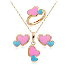 heart ring necklace images Baby kids jewelry sets 18k gold plated pink blue double heart jpg