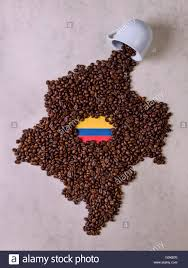 Map Of Colombia Fall Cup Coffee Coffee Beans Forming The Map Of Colombia Stock