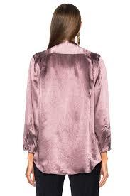 acne studios bodil satin blouse in dusty purple fwrd