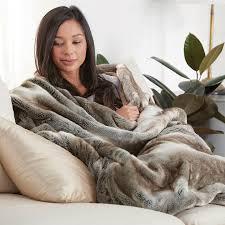 Faux Fur Blanket Queen Nap Luxury Throw Blanket At Brookstone U2014buy Now