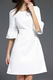 biemei white rhinestone bell sleeve dress knee length dresses at