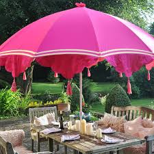 Pink Outdoor Furniture by Garden Parasol With Tassels And Ribbons Garden Parasols