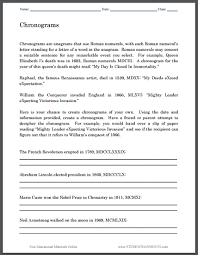 chronograms puzzle worksheet for kids student handouts