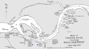 China River Map by Hms Amethyst Incident Yangtze River China 1949