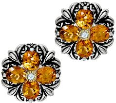 button earrings barbara bixby sterling 18k gemstone flower button earrings