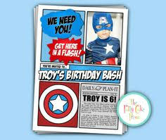 captain america inspired birthday party invitation michael is