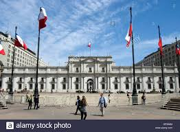 Chile Santiago Flag Santiago De Chile City Constitution Square And The Palace Of The