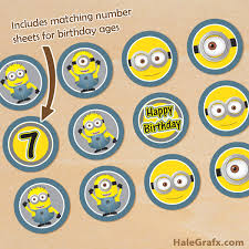 printable minions cupcake toppers age numbers