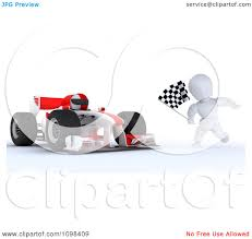Finish Line Flag Clipart 3d Winning Race Car Driver And White Character With A