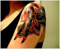 tattoo eagle girl traditional american eagle on girl head tattoo on girl left shoulder