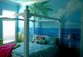 blue sea and sky plus coconut tree also blue floral bedding sheet blue sea and sky plus coconut tree also blue floral bedding sheet on the white wooden canopy bed as well as also atlanta online magazine