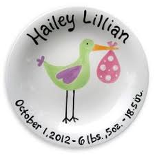 personalized baby plate blue stork birth plate announcement plates birth