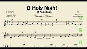 o holy night sheet music for clarinet noche santa christmas carol