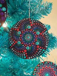 special mandala ornament painted 3in wood mandala