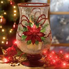 painted crackle glass poinsettia candle holders