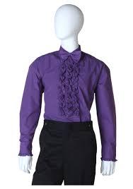 purple ruffled tuxedo shirt