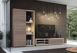 modern and stylish tv unit and tall cabinet composition in various
