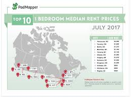 the average cost of rent in major canadian cities right now map