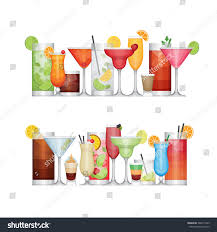 cocktail drinks different alcohol cocktail drinks beverages flat stock vector