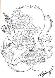 colorless japanese dragon with lotus flower tattoo design