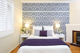 Purple Bedroom Feature Wall - how to hang wallpaper in the bedroom australian handyman magazine