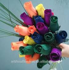 wooden roses high quantity artificial wooden roses buds half open roses for