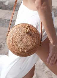 sol rhodes woven round rattan beach bag basket bag bucket bag