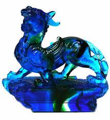 pixiu statue blue liuli glass pate de verre fengshui pixiu