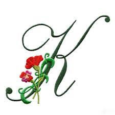 k floral monogram embroidery design
