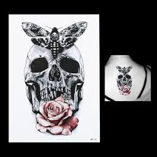 1 sheet new gray butterfly skull rose flower arm body art tatoo