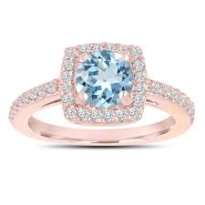 aquamarine and diamond ring engagement ring with diamonds 14k gold 1 24 carat certified