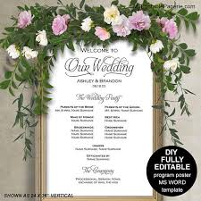 wedding program poster wedding program sign template wedding program posterwedding