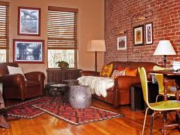 favored vintage style living room decorating design with exposed