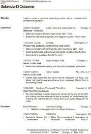 bartender resume description bartender resume template pdf job