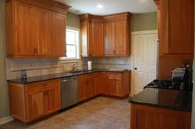 furniture natural cherry kitchen cabinets with tile flooring and
