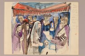 albert dov sigal watercolor sketch of a rabbi with a bridal couple