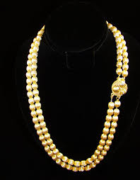 bead necklace gold images Double strand gold tone corrugated bead necklace sold ruby lane jpg