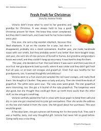 reading comprehension worksheet fresh fruit for christmas