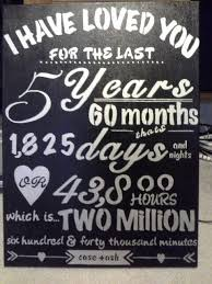 five year wedding anniversary gift ideas 5 years anniversary gifts chalkboard quotes high