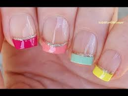 colorful french manicure on short nails for summertime youtube