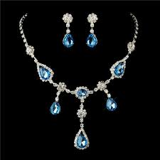 prom necklace 4 sets of silver clear light blue necklace earrings bridal