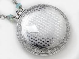necklace case images Antique silver pocket watch case necklace with gold butterfly jpg