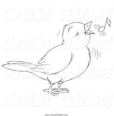 vector clip art of a black and white cute singing bird by alex