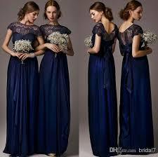 bridesmaid gown vestidso sheer neck lace bridesmaid dresses scoop design cap